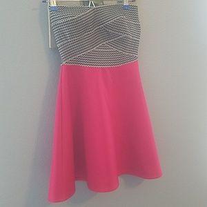 Trixxi size 3 black, white and red strapless dress